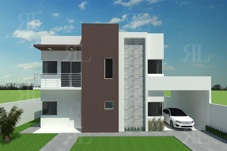 P019 sobrado moderno 3q 154 86 m r l engenharia e for Fachadas de casas modernas em belo horizonte
