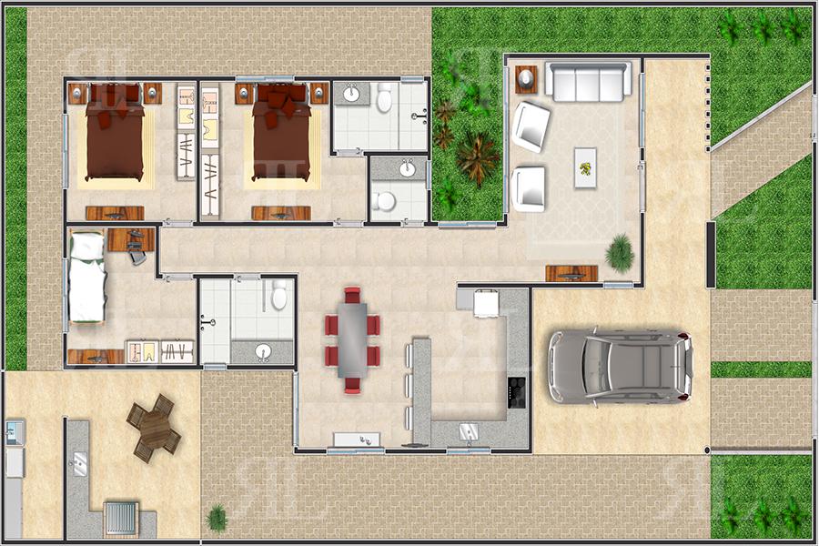 P023 casa t rrea moderna 3q 158 86 m r l engenharia for Casa moderna 3 parte 2